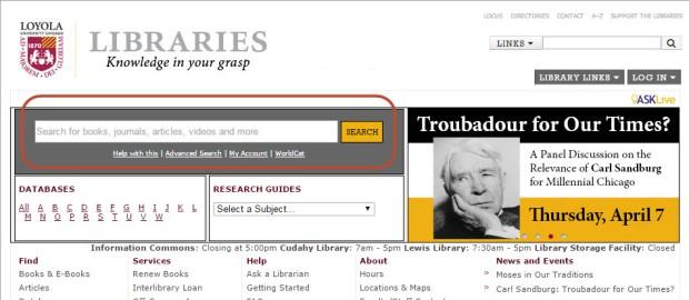 website search box